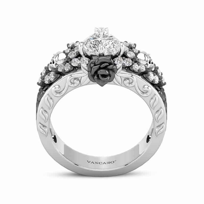 Rose Design Skull Ring For Women Heart Cut Engagement Ring
