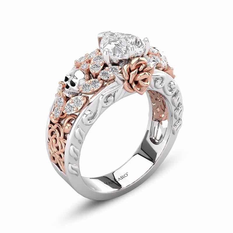 Skull Ring Rose Flower In Rose Gold Two Tone Heart Cut