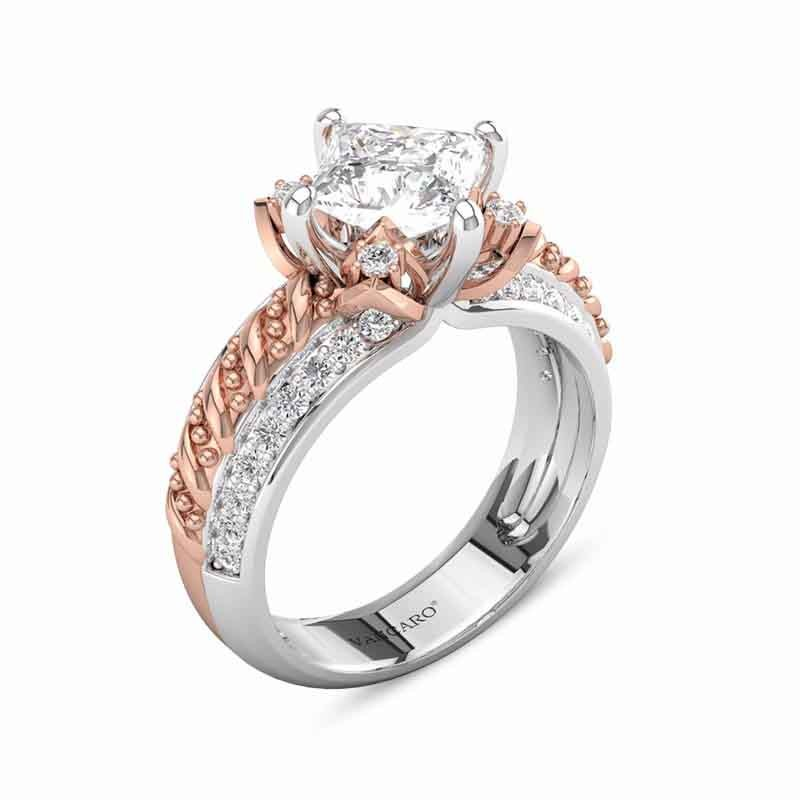 Lotus Princess Cut Engagement Rings Two Tone In Rose Gold