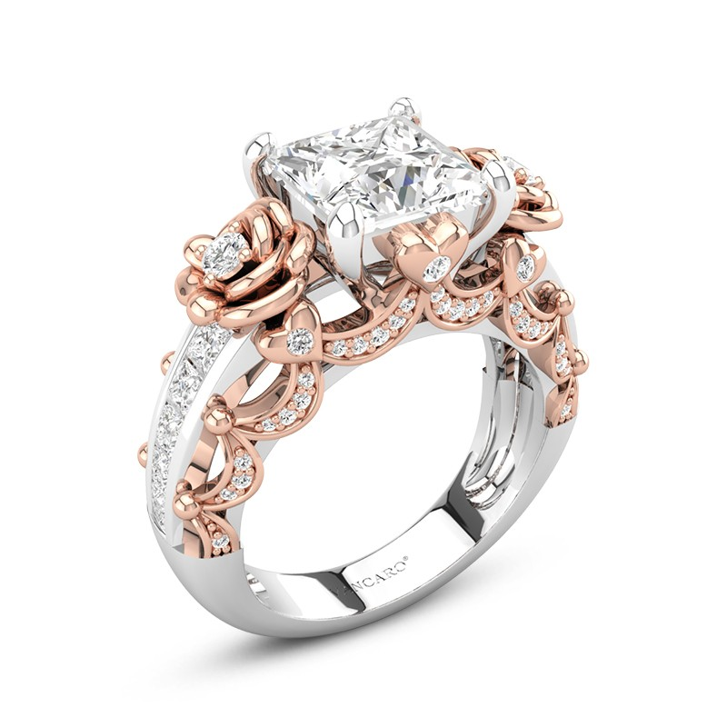 bbc847f70a872 Rose Flower Engagement Ring Princess Cut In Rose Gold Two Tone