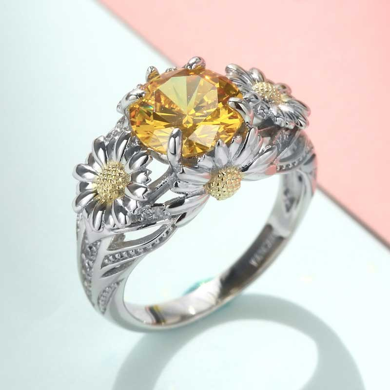 Sunflower/Daisy Flower Engagement Ring With Yellow