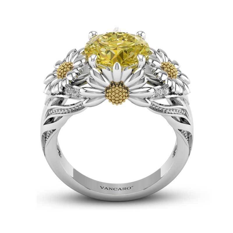 adb31b3bf VANCARO Dazzling Daisy Engagement Ring With Yellow Gemstone