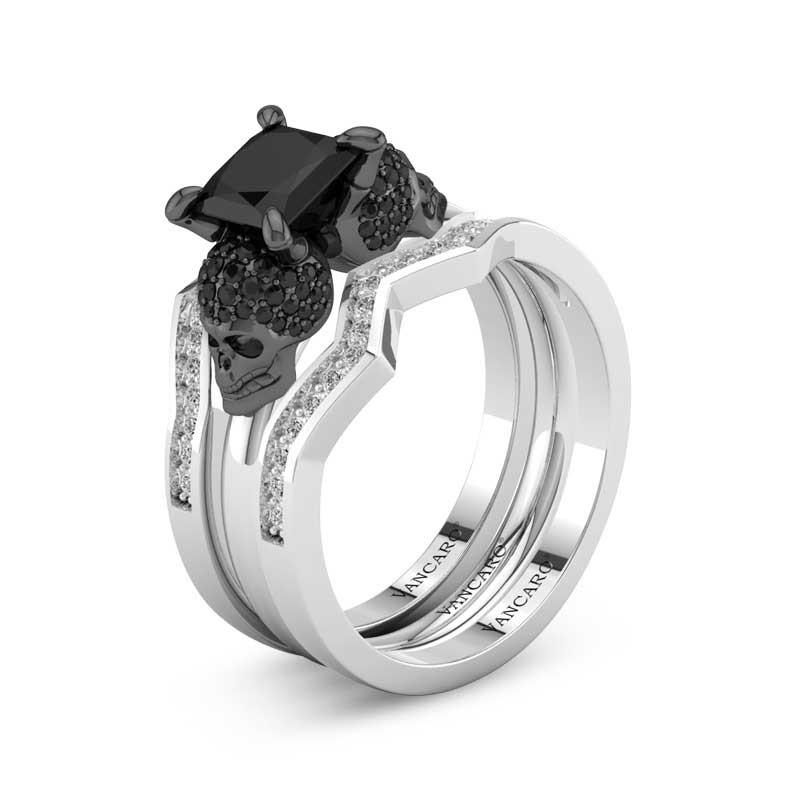 3 Pcs Skull Wedding Rings Set Black Diamond Princess Cut Stone Vancaro