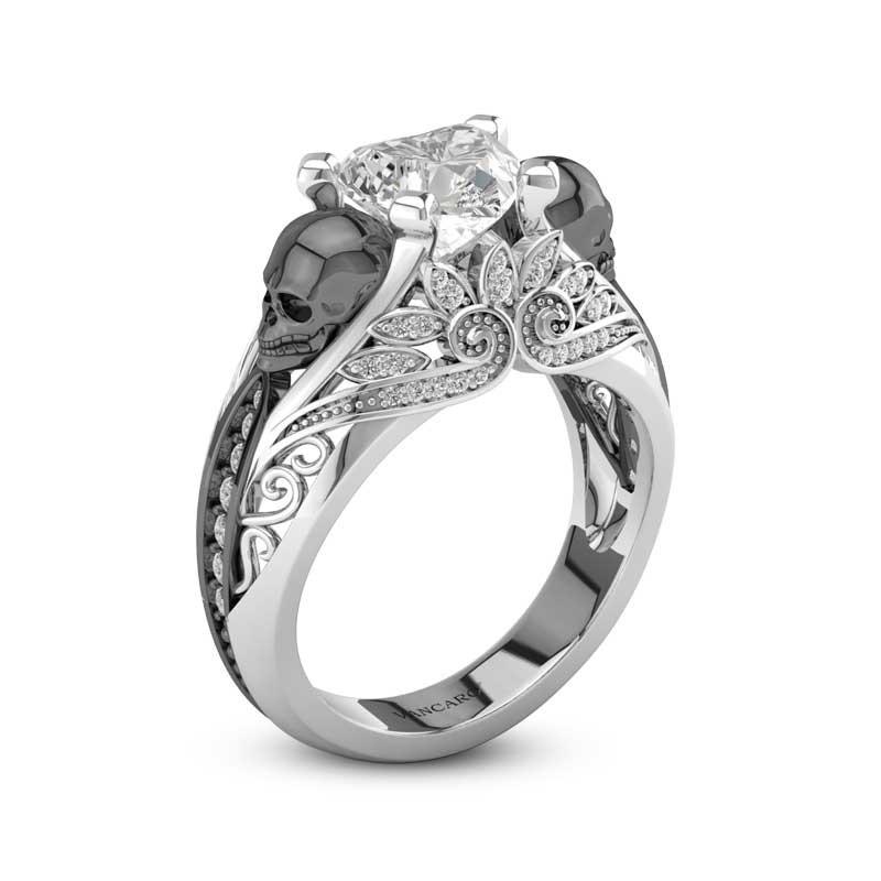 Skull Engagement Diamond Ring With Black Skulls For Women Vancaro