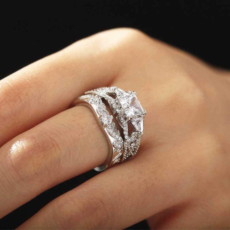 White Gold Wedding Ring Set Arrow Of Cupid Princess Cut