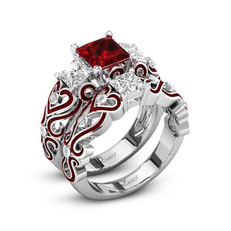 Wedding Ring Sets.2pcs Set Lily Of The Valley Wedding Ring Set Princess Cut Garnet
