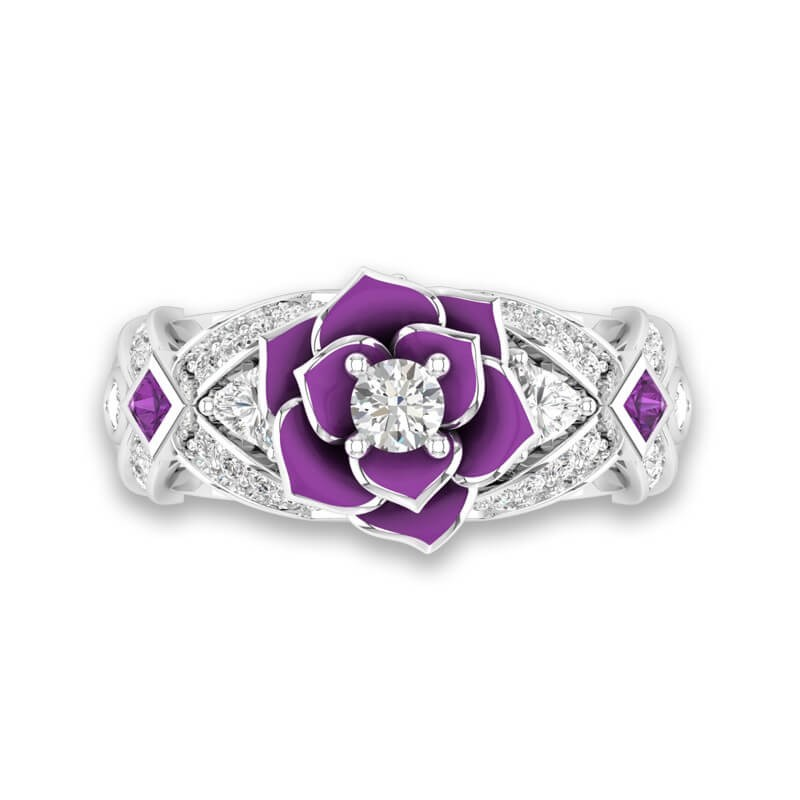 Unique Rose Promise Rings For Her Purple Rose Flower