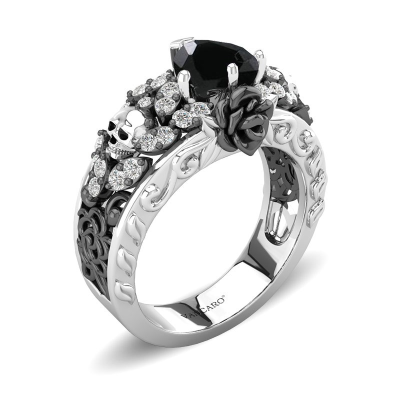 Skull Ring For Women Rose Flower And Heart Cut Black
