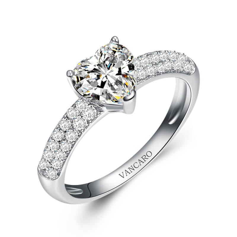 Simple Heart Shaped Engagement Ring In White Gold