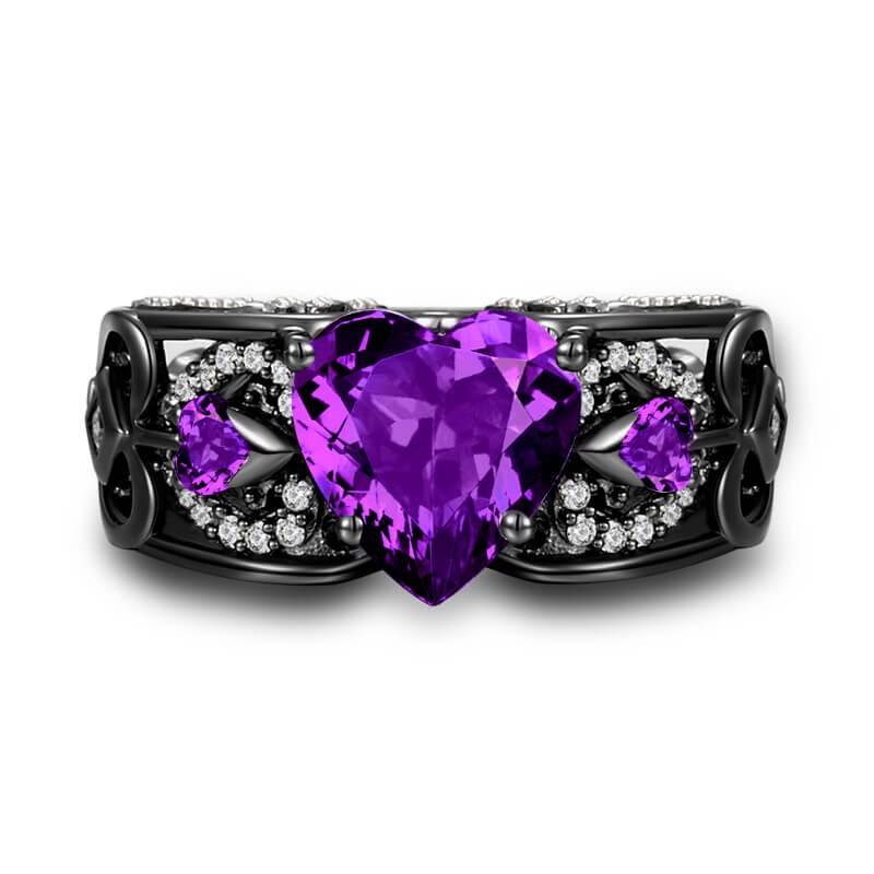 Vancaro Amethyst Purple Stone Ring In Black Angel Wing