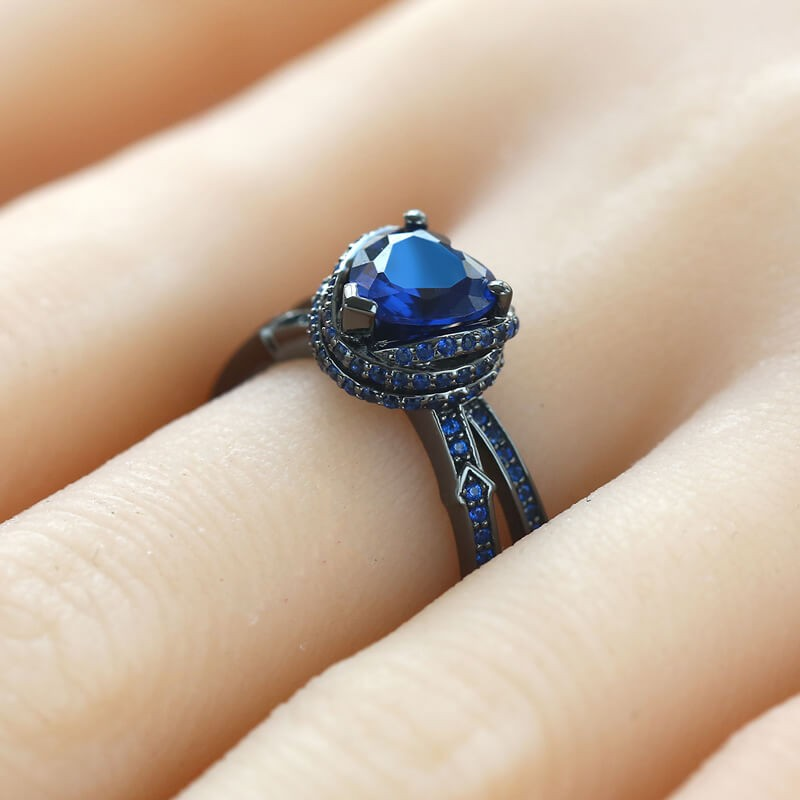 Blue Sapphire Engagement Ring In Heart Shaped Arrow Vancaro