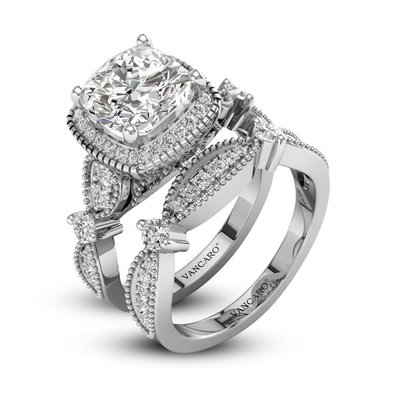 Princess Cut Halo Engagement Ring Set In Sterling Silver