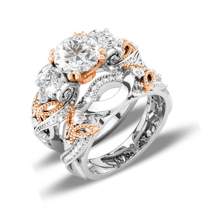 Wedding Rings Sets.Three Stone Wedding Ring Set Butterfly In Rose Gold