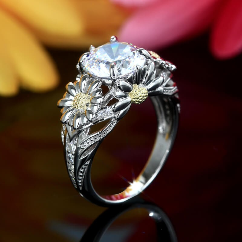 Sunflower Round Cut Engagement Rings In Sterling Silver