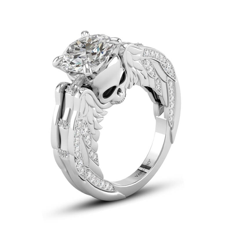 Winged Skull Engagement Ring Round Cut In Sterling Silver