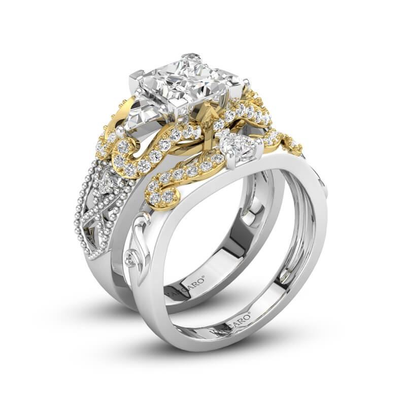 Princess Cut Three Stone Engagement And Wedding Ring Set