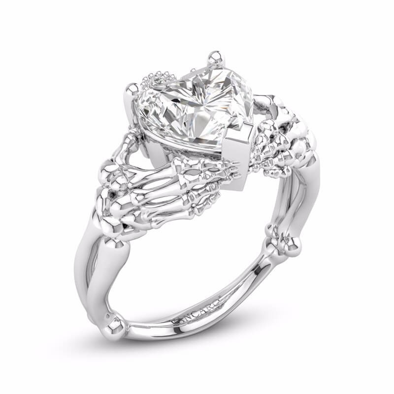 Gothic Silver Engagement Ring Claddagh Heart Diamond Jewelry Vancaro