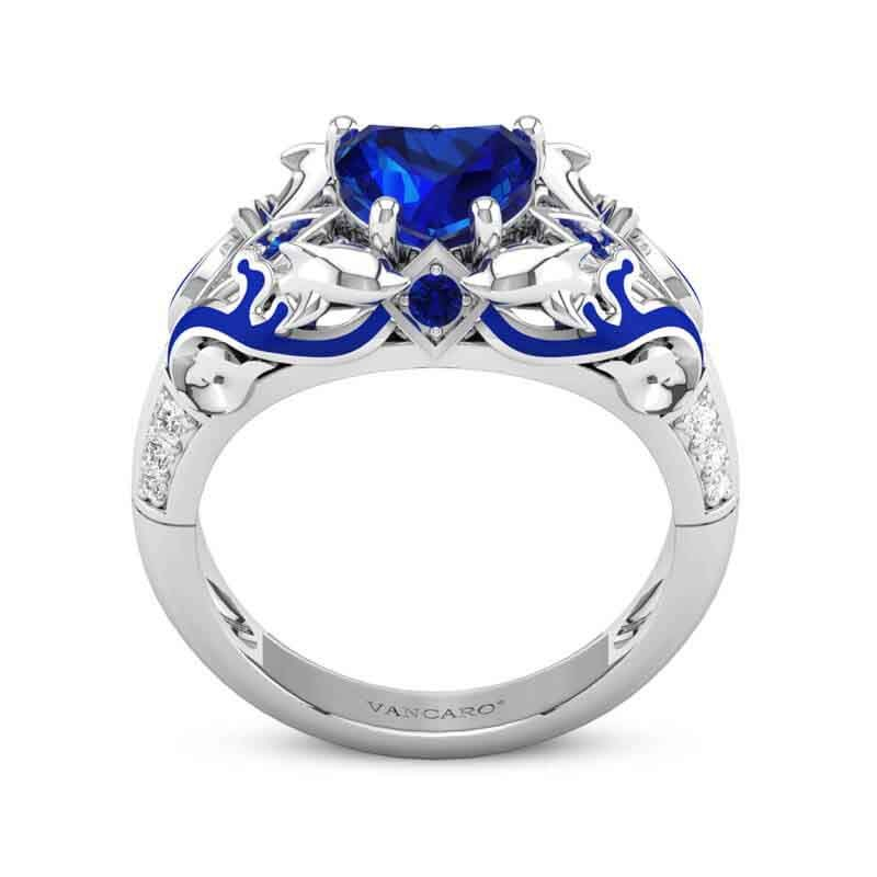 Blue Sapphire Dolphin Ring Heart Cut Blue Enamels Sterling