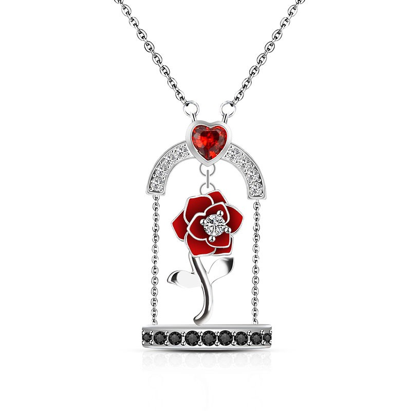 Rose Necklace Beauty And The Beast Inspired Rose In Cage Pendant Vancaro